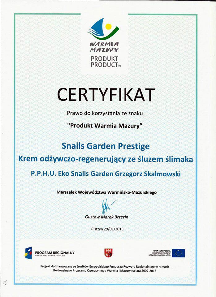 certyfikat SnailsGarden